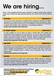 nepal newspaper copy writer job vacancy deadline march 14 2014 oyster advertising copywriter job description