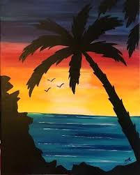 palm tree painting sunset palm
