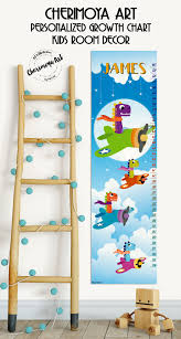 Kids Wall Growth Chart Personalized Growth Chart Dinosaurs Wall Decal Kids Height