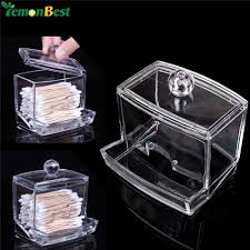 1Pcs Q tip Clear Acrylic Holder Storage Box Cotton Swabs Stick Cosmetic  Makeup Cotton Organizer Women's Powder Box With Lid-in Storage Boxes & Bins  from ...