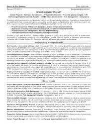 Resume For A Business Analyst Business Analyst Manager Resume