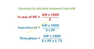 Kw To Amps Conversion Chart To Find Amps From Kw Basic Formula Calculations In Dc And Ac