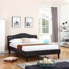 Details about Modern Contemporary Bed Frame Low Profile Bed, Bonded Leather, Full, Espresso