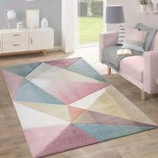 details about geometric rug pink blue yellow pastel multi colour living room rug small large