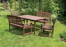 6 seater wooden patio garden dining set 5 piece 2 seater garden benches and