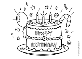 Cake Happy Birthday Party Coloring Pages Celebration Coloring