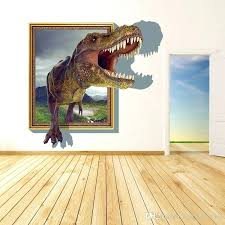wall frames for new arrival cartoon dinosaur out of the frame decor stickers living room wall frames