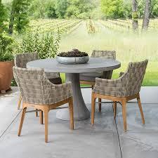 contemporary round concrete pedestal table