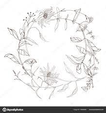 手のベクトル イラスト デザインは ヴィンテージの花夏または秋の花輪に
