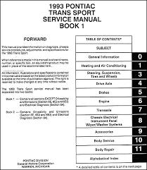1993 pontiac trans sport van repair shop manual original 2 volume set pontiac trans sport 1994 wiring diagram table of contents page 1