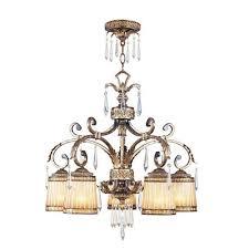 livex lighting la bella vintage gold leaf five light chandelier