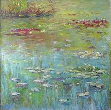lily pond painting 90x90x3 cm 2016 by liudvikas daugirdas impressionism canvas