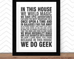 geek office decor. Home Decor | In This House We Do Geek Wall Art, Inspirational Office I