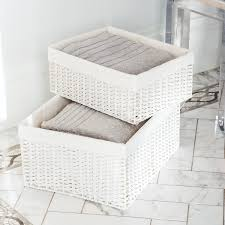 White Montauk Woven Rectangular Storage Bins ...