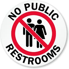 no public restrooms glass door decal