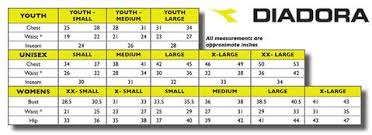 Size Charts Diadora Soccer