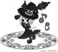 お洒落で可愛い魔法使いの女の子のイラストのイラスト素材 25851058