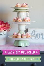 diy tiered cake stand from vintage plates bowls and cups