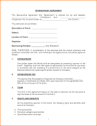 sponsorship agreement sponsorship agreement template