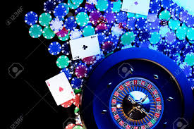 Light Blue Poker Chips Casino Concept High Contrast Image Of Casino Roulette Poker