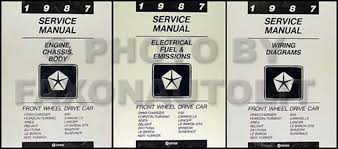 plymouth reliant service manuals shop owner maintenance and 1987 mopar fwd car repair manual 3 vol set