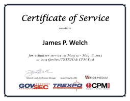 Volunteer Certificate Certificate Of Volunteer Service_james Welch