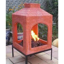reddish brick mexican fire pit clay chimney ground elaborate gas burning