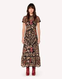 REDValentino <b>Floral</b> Vines Macramé Embroidered Dress - <b>Long</b> ...