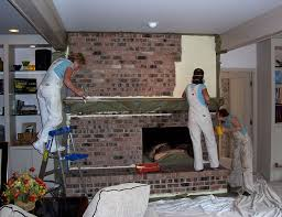 faux painting brick fireplace image and kitchen