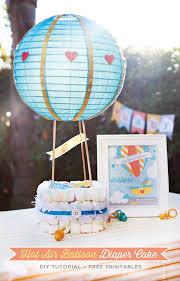 hot air balloon diaper cake tutorial free printables baby shower gift basketshower