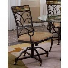 casual dining chairs with casters: set of  pompei caster dining chairs