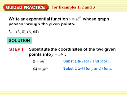 substitute the coordinates of the two given points into y ab