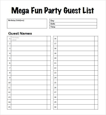 Party List Template 10 Guest List Templates Word Excel Pdf Templates Www