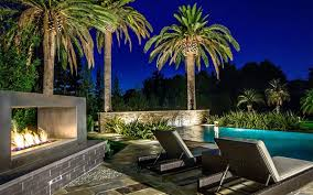 pool landscape lighting ideas. modern landscape lighting ideas with pool and electric fireplace n