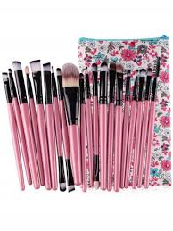 20pcs ultra soft foundation eyebrow eyeshadow cosmetic brush set with travel bag