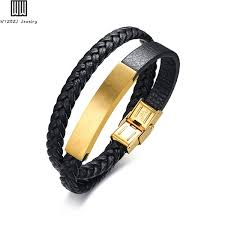 double braided layer leather id bracelet for men bangle high quality gold color stainless steel bracelets
