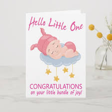 Baby Congratulations Card Modern Pink Baby Girl I New Baby Congratulations Card