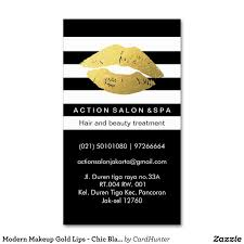 modern makeup gold lips chic black white stripes business card