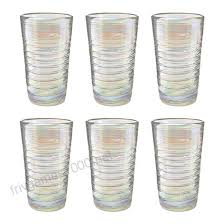 amici home 7mcr355s6r perla er hiball drinking glass iridescent shine recycled handblown artis mexican tabletop glassware
