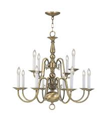 livex 5012 01 williamsburgh 12 light 26 inch antique brass chandelier ceiling light