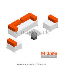 isometric office furniture vector collection. Isometric Sofa, Armchair And Coffee Table. Vector Office Furniture Equipment Collection T