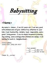 Babysitting Ads Babysitting Flyer Work Pinterest Babysitting Flyers