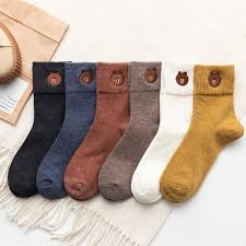 Cute Cartoon <b>Little Bear</b> Embroidery Women Socks Fashion Soild ...