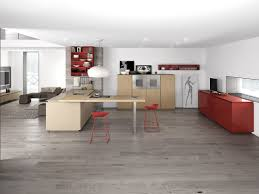 White Kitchen With Red Accents Minimalist Kitchen With Red Accents By Comprex