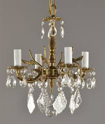 spanish brass crystal chandelier c1950 vintage antique french style ceiling light