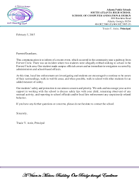 School letterhead official notification (student safety)