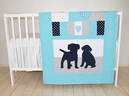 puppy blanket dog nursery quilt baby boy quilt boy crib bedding labrador blanket aqua gray darl blue blanket custom made