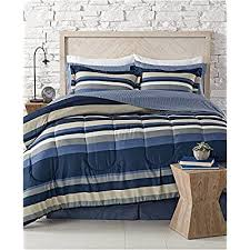 austin navy blue striped comforter set