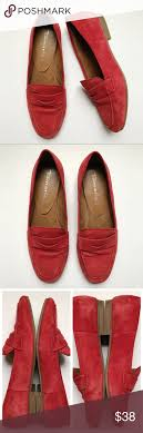 Tamaris Shoe Size Chart Tamaris Leather Suede Loafers Flats Red 38 7 Tamaris Leather