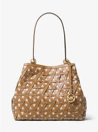 michael michael kors brooklyn large leather and canvas tote nat acorn